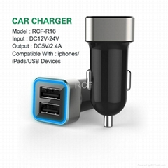 Portable 2.4A Dual USB Port Phone Car Charger for Iphone Ipad
