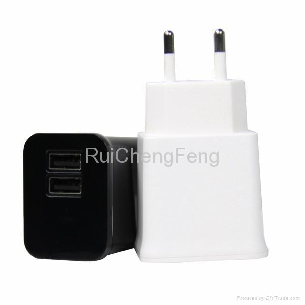 Dual USB 5V 2.1A EU plug and US plug travel wall Home Charger for Iphone Ipad 1