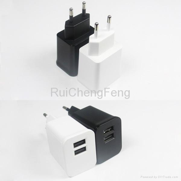 Dual USB 5V 2.1A EU plug and US plug travel wall Home Charger for Iphone Ipad 3