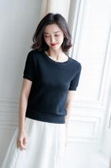 Women summer Crewneck Short sleeve Knitting top