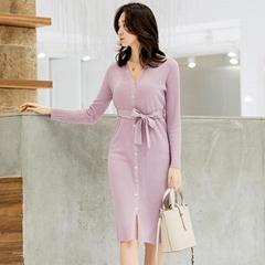 Spring-Autumn Women V-neck Button Strip Slip Knitting Dress