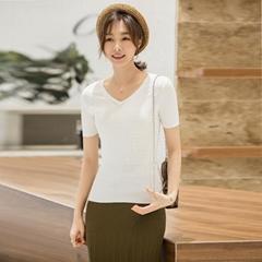Women Simple Slim V-neck Short Sleeve knitting Tee