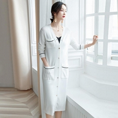 Spring-Autumn Women V-neck Button Thin Long Cardigan Sweater with Pockets