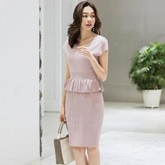 Women Short Sleeve Ruffle trim Tee with Wrap Skirt