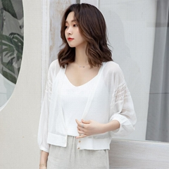Loose Super thin See-through V-neck Cropped Cardigan Knitwear