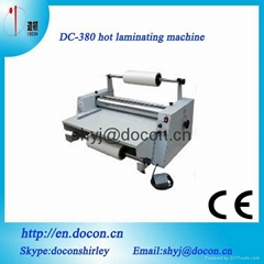 DC-380 hot laminating machine with steel roller 365mm laminator