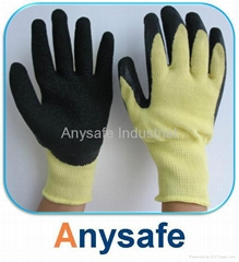 Cut resistant gloves - 10G Kevlar liner with crinkle latex coating