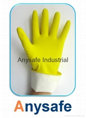 Cotton flocklined latex glove