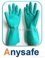Flocklined nitrile glove