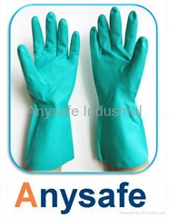 Flocklined nitrile glove