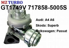 GT1749V 717858-5005S turbocharger suit for Audi Skoda Volkswagen AVF/AWX TDI