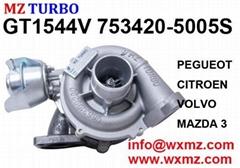 MZ TURBO GT1544V 753420-5005S turbocharger for PEGUEOT CITROEN VOLVO MAZDA 3