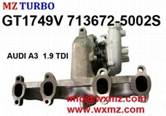 MZ TURBO 4 Cylinder Turbocharger gt1749v 713672-5002S AUDI A3