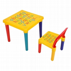 Plastic Kids Table and Chair Set Colorful Alphabet Design