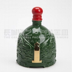 陶瓷酒瓶原创设计帝王将相系列(绿)