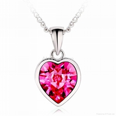 Fashion Rhodium Plated Heart Necklace