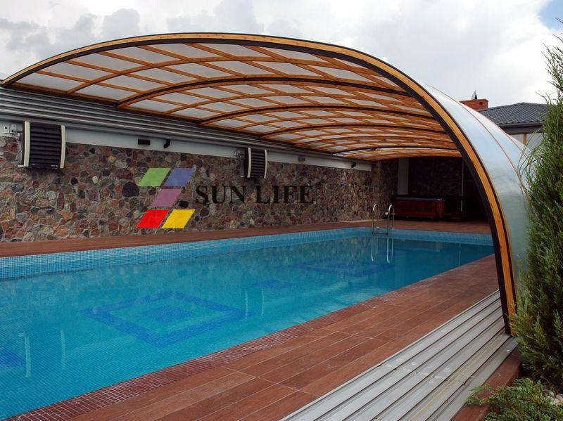 Retractable side wall swimming pool enclosures sl 02 sun life china manufacturer shaped Retractable swimming pool enclosures