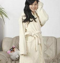 Ladies Coral Fleece Robe Off white-1