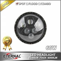 "7"" led headlight 75W car automotive off-road wrangler rubicon motorcycle auto le"