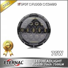 Jeep Wrangler round 7in led headlight sealed beam JK 07-15 headlamp