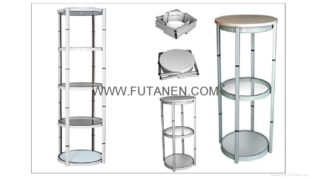 Free shipping  Aluminium folding spiral tower display showcase Systems 4