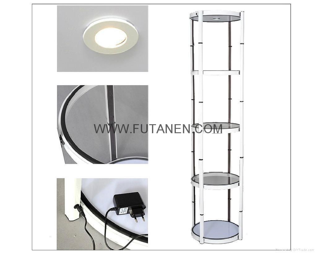 Free shipping  Aluminium folding spiral tower display showcase Systems 3