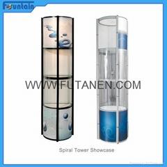 Free shipping  Aluminium folding spiral tower display showcase Systems