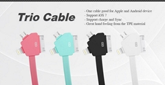 Hot Sell!USB Trio Cable For Apple and Android device
