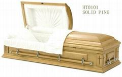 wooden casket for funeral