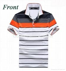 2015 custom striped button polo shirt for men
