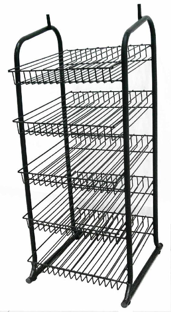 Metal Wire Hanging Basket Flooring Rack Snack Food Display 5