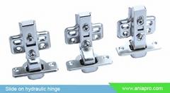 Clip on hydraulic cabinet door hinge