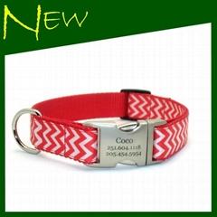 Fashion Chevron Nylon Dog Collar&Lead