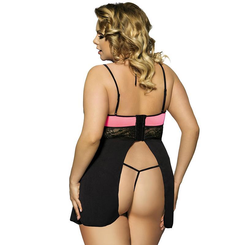 2016 Plus size sexy black lace lingerie 2