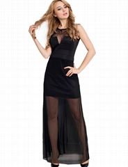 Black long evening dress with sheer overlay