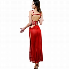 Modern evening lady sexy transparent dress gown