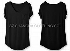 modal fabric ladies fashion plain t-shirts with pocket