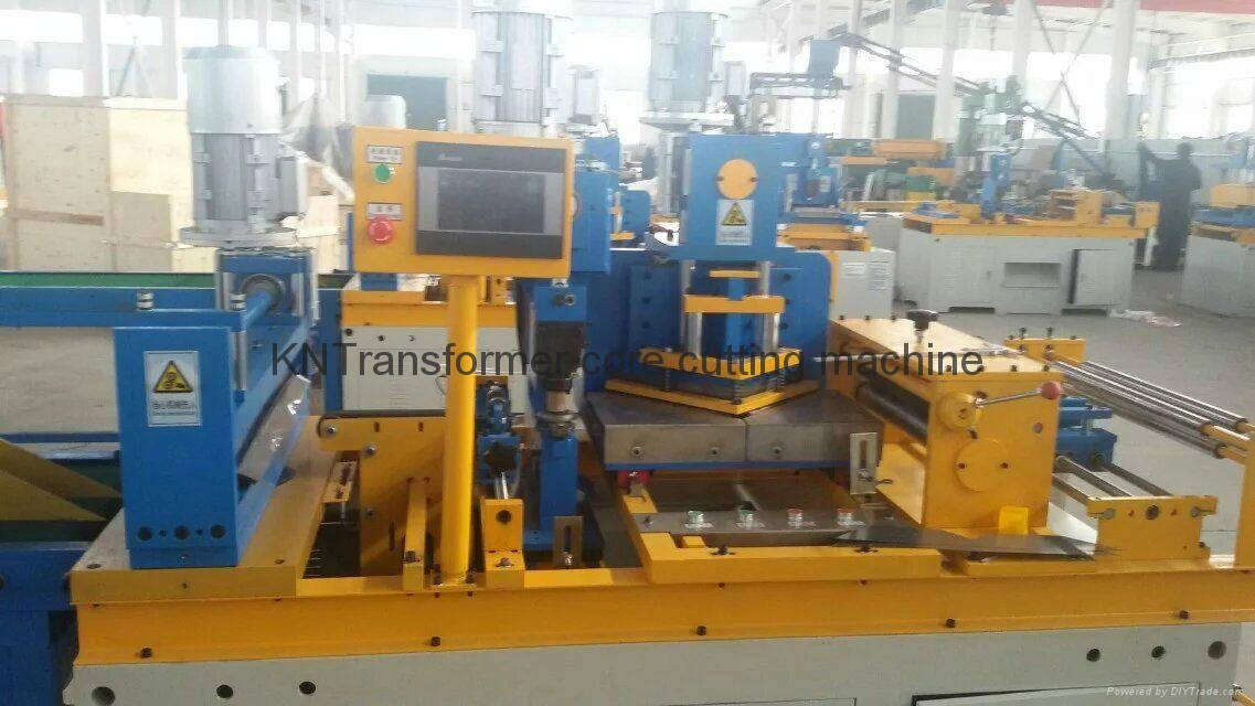 Compact silicon steel mitered core cutting machine