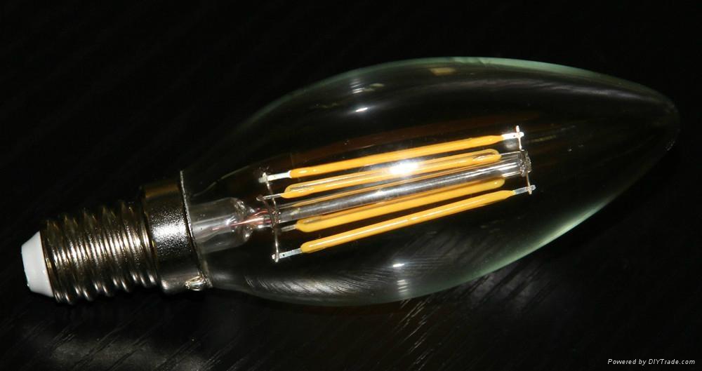 COB COG COW light C35 B35 lamp E12 E14 2W 4W LED filament candle bulb  2