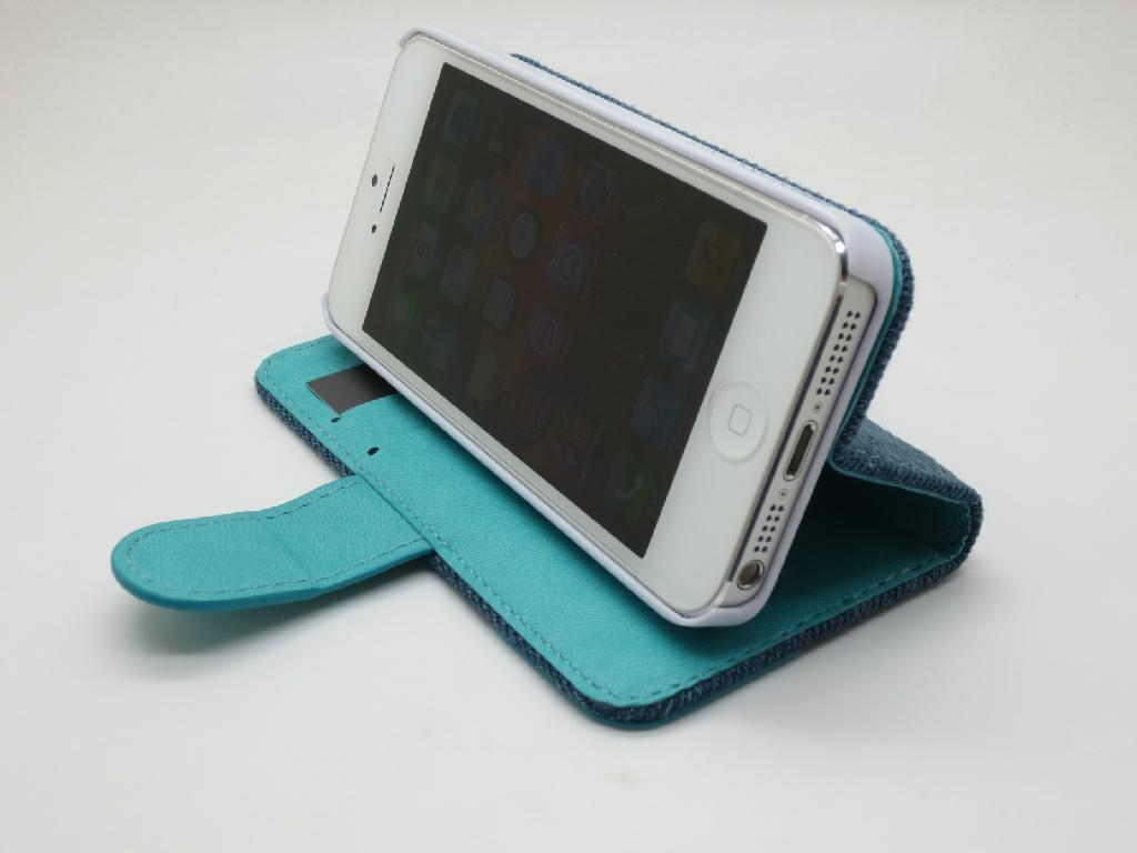 New Model Jean Phone Case for iPhone 5 Real Flip Leather Case with Factory Price 1