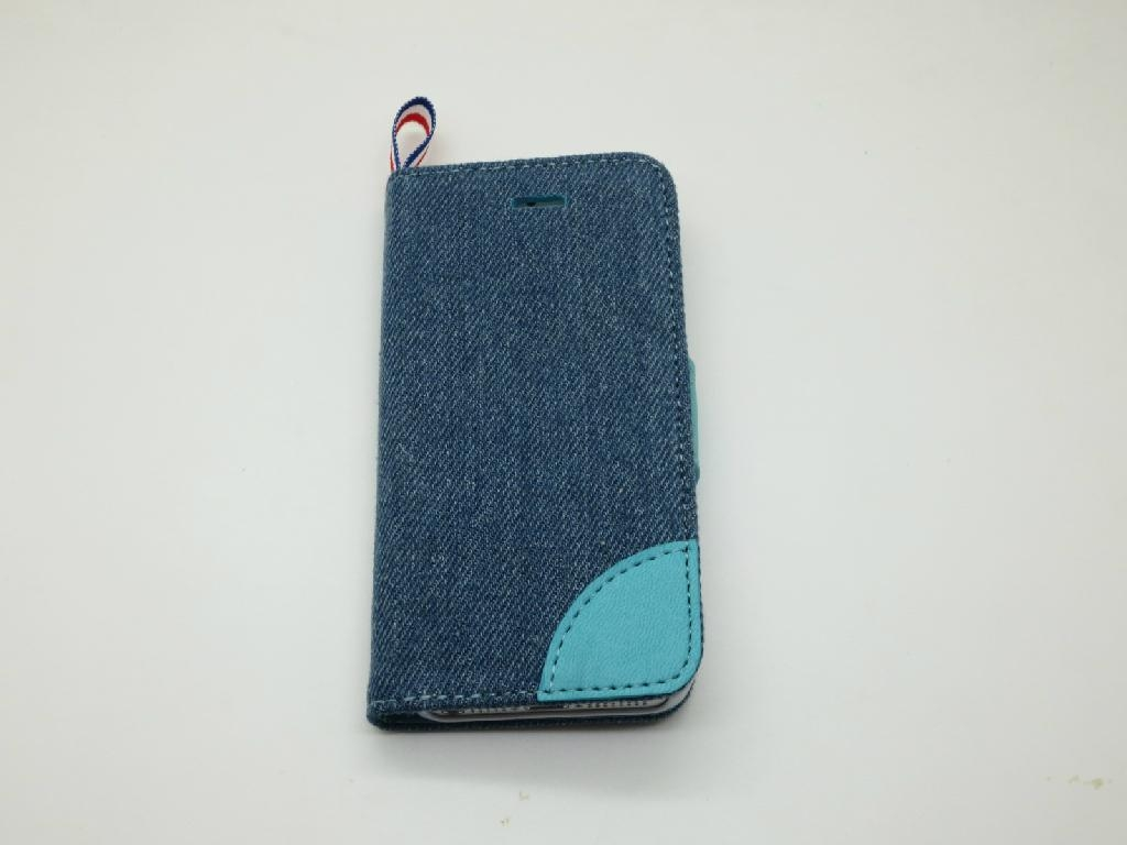 New Model Jean Phone Case for iPhone 5 Real Flip Leather Case with Factory Price 2