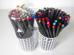 advanced black wood with color diamond students pencil