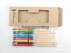 10支3.5英寸彩色铅笔+9支蜡笔套装,环保牛皮纸盒包装
