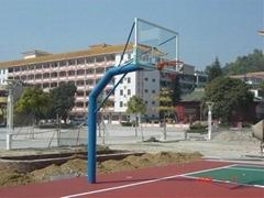 埋地三節鋼化透明玻璃籃球架