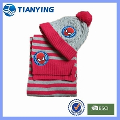 Tianying hot fashion embroidered spider-man cable knitted hat and scarf