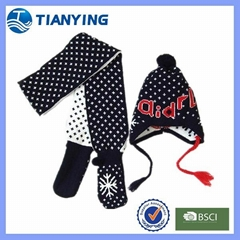 Tianyng pom fashion knitted hat scarf matching gloves