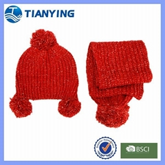 Tianying sliver yarn mixed red youth beanie and scarf with bobbles