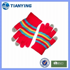 Tianying three fingers conductive yarn knitted screen touch gloves