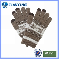 Tianying jacquard three fingers touch screen knitted gloves
