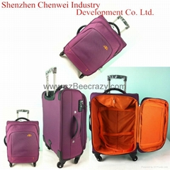 Purple polyester top quality luggage travel bag
